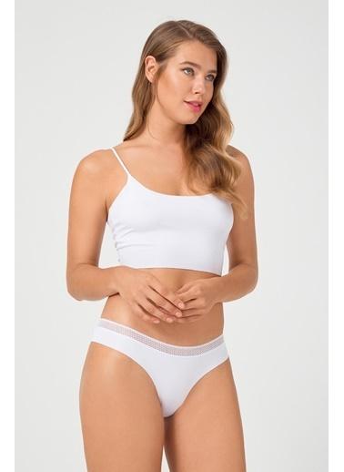 Cottonhill File Lastikli Lazer Kesim Kadın Bikini Külot Beyaz